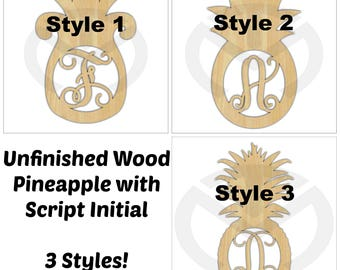Pineapple - 01669C- Any Letter Monogram Door Hanger Laser Cutout, 3 Styles, Home Decor, Script, Summer, Welcome