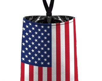 Car Trash Bag // Auto Trash Bag // Car Accessories // Car Litter Bag // USA Flag // Car Organizer Red White Blue Patriotic Stars and Stripes