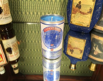 Vintage Kentucky Derby Beer Can Candle, Soy Amber and Caramel scent