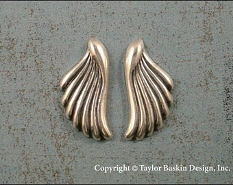 Antiqued Sterling Silver Plated Angel Wings or Earring Components (item 1418/1419 AS) - 6 Pieces