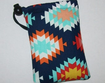 """Pipe Pouch, Tribal Southwest, Glass Pipe Case, Pipe Bag, Padded Pipe Pouch, Glass Pipes, Weed, Stoner Gifts, Smoke Accessory - 5"""" DRAWSTRING"""