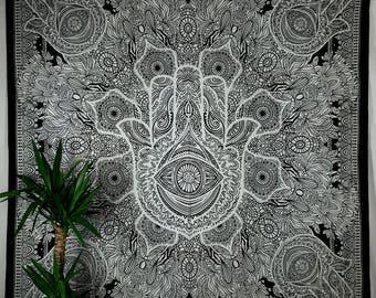 Depiction Day blanket HamsasHand fatimas tapestry black and white goa scarf hippie boa Gipsy Bohemian