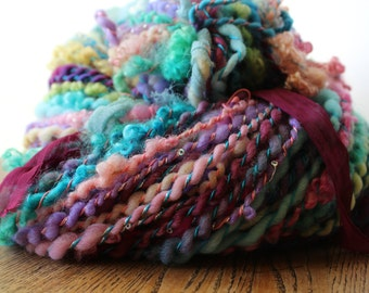 Huge Skein Handspun Super Bulky Art Yarn -Corespun Lockspun Sari Silk - 6.1oz/171grams 128 yards