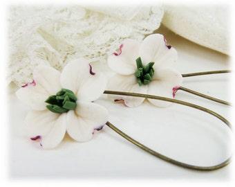 White Dogwood Dangle Earrings - Dogwood Drop Earrings, White Dogwood Jewelry