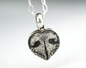 Mini Dog Nose Print Heart Necklace Pet Jewelry Sterling Silver