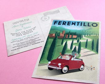 Vintage Bespoke Illustrated Postcard invite for Weddings and Special Occasions
