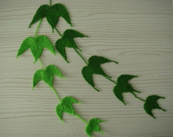 ivy vine leaf,6-8-10-12cm,art,brooch,bookmark,decor of cap/sweater/wall/curtain,knitted,wedding,boho=plain color,green=MaryDengZF