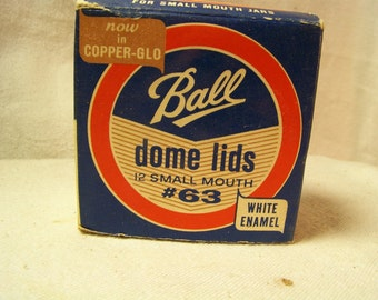 Ball Dome Lids Half Pint #63 in Copper-Glo White Enamel Vintage 1950-70's