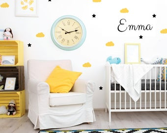 Cloud and star wall decal, personalized name decal, wall sticker, vinyl wall decal, custom wall decal, clouds and stars decal stickers 406