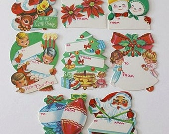 Vintage CHRISTMAS Gift Tags - Circa 1950s - Set of 8 (NOS/Unused - Lot 8)