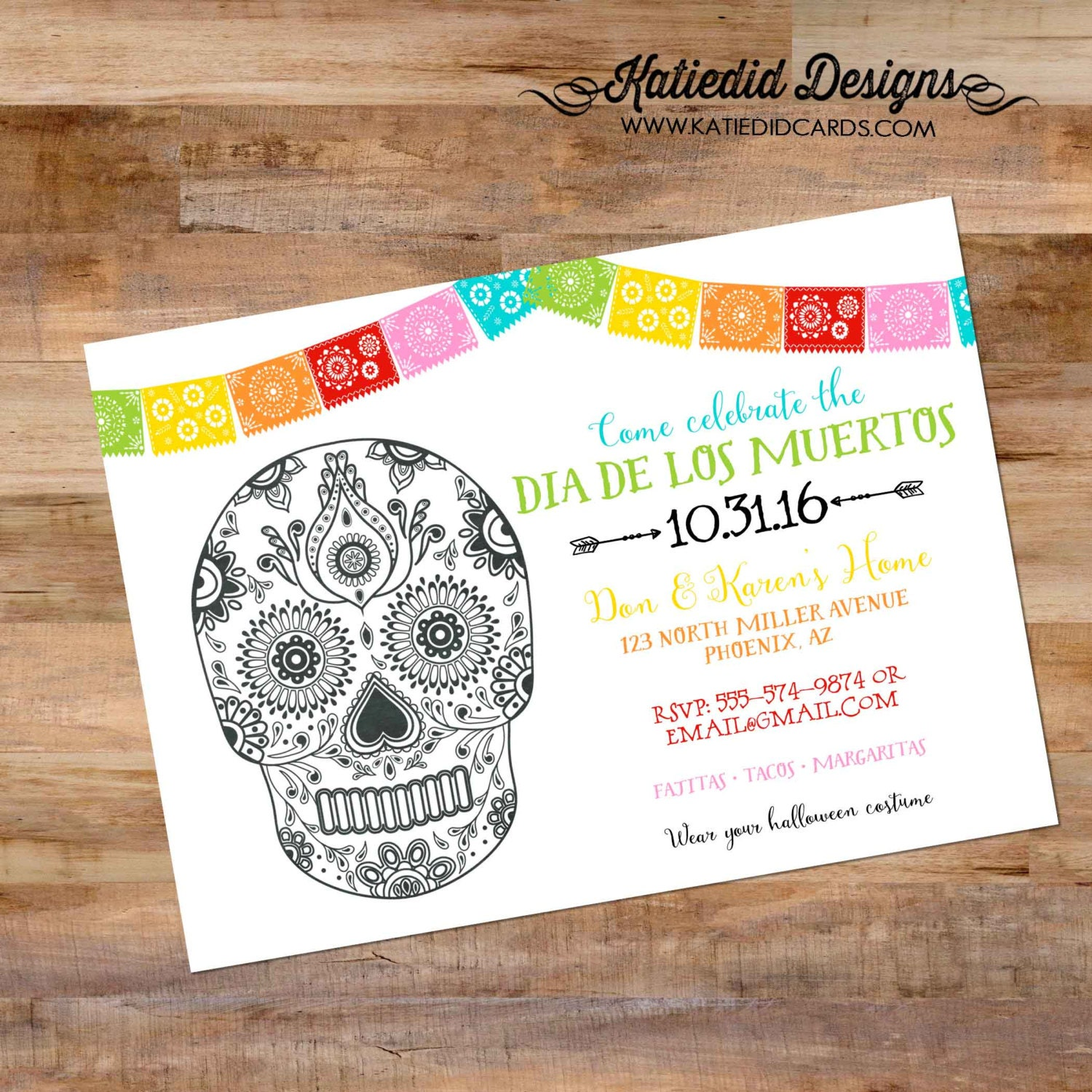 Fiesta Dia De Los Muertos Cinco De Mayo Tacos Margaritas Couples - Day of the dead party invitation template