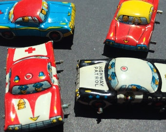 4 Vintage Japanese 1960s TIN CARS 35mm long