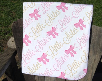 Little Sister Baby Blanket - Pink Bow Receiving Blanket for Girls - Bow Baby Blanket - Newborn Swaddling Blanket - Little Sister Photo Prop