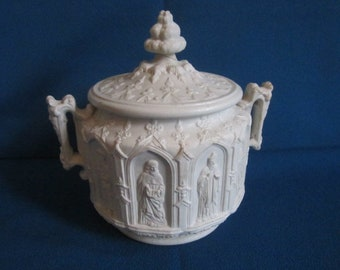 Antique Victorian White Parian Ware Covered Sugar as found