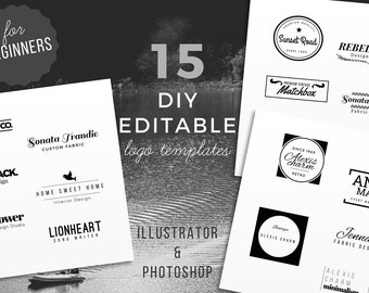 15 DIY Logo Template, Instant Download Logo, Premade Photography Logo Template, Editable PSD, Small business Branding, Photography Watermark
