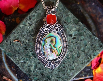 Abalone and American Fire Opal Silver Wire Wrap Pendant