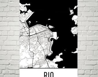 Rio de Janeiro Map, Rio de Janeiro Art, Rio de Janeiro Print, Rio de Janeiro Brazil Poster, Rio de Janeiro Wall Art, Poster, Gift, Art