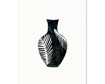 Watercolor Black and White Vase Art Print. Tropical Leaf Vase Painting. Gift For Her. Modern Eclectic Apartment Art. Minimalist Art Print.