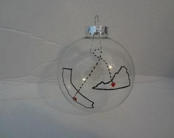 State to state ornament, state ornament, personalized ornament, handpainted ornament, Handpainted Christmas Ornament,