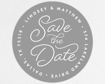 Return Address Label, Wedding Return Address Label, Family Return Address Label, Save the Date Return Address Label, Calligraphy, Gray, DIY
