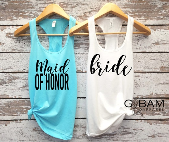 Bride Tank Top / Bridal Party Tank tops / Bridesmaid Tank / Maid of Honor Tank / Bachelorette Party Tanks!