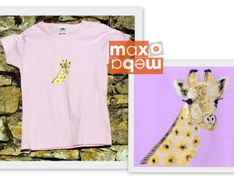Kids t-shirt in organic cotton or good quality, African animals, giraffe