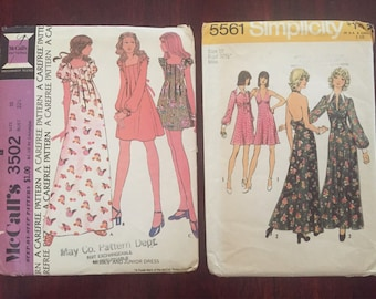1970s Sewing Patterns, Vintage 70s McCalls 3502, Simplicity 5561 Pretty Dress Patterns Size 10 L Vintage Sewing Patterns Long Dress Pattern