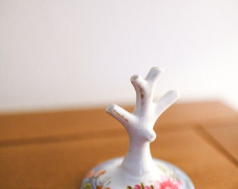 Vintage Hand Painted Porcelain Ring Tree