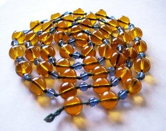 Perle de verre ne chapelet collier, couleur orange et bleu ciel, clapet Lariat aucun fermoir