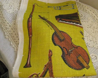 Vintage Tea Towel~~Leslie Lindsey Mason Collection of Musical Instruments~~Museum of Fine Arts ~~Mid Century Linen Tea Towel