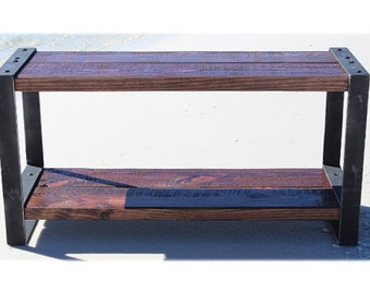 Reclaimed wood bench, Industrial bench, Wood and metal, Entertainment center, Console, Entryway bench, Rustic bench, Barn wood, Furniture