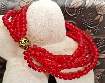 Ruby Red Multi Strand Seed Bead Stretch Bracelet, Stack Look, Cuff Bracelet
