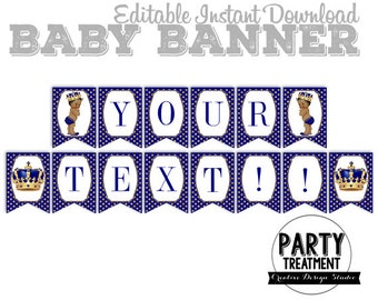 Royal Prince Baby Shower Banner, Royal Prince Birthday Banner, Instant Download and Editable, Design #184