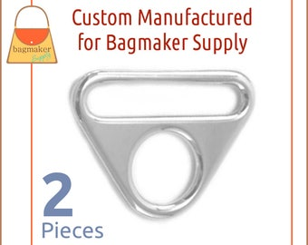 """1.5 Inch 38 mm Triangle Double Rings, Slot and Hole Loop Buckle, Shiny Nickel Finish, 2 Pack, Purse Handbag Hardware, 1-1/2"""", RNG-AA301"""