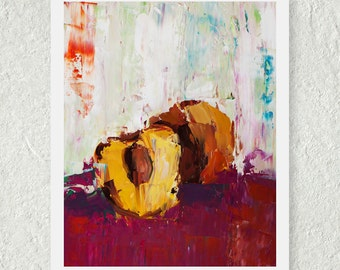 Abstract Art Print, Oil Painting Print, Peach Print, Summer Fruit Print, Summer Art Print, Small Wall Art Fruit Painting, Gift for Her