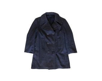 VINTAGE men wool sailor army heavy COAT // size eu 42 - uk 14 -us 10