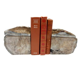 Agate Book Ends - Natural Geode Druzy Over 10 Lb Bookend Rock Formation - Book End (HSBox2-01)