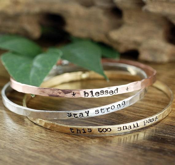 Inspirational Bracelet, Stackable Bangle Bracelets, Personalized Bangle Bracelet, Gift for Mom, Custom Bangle Bracelet, Mothers Bracele