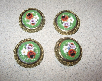 Button Set of 4 Mosaic Collectible Antique Vintage Sewing Clothing Buttons #PR45