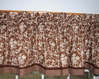 """Brown & White Flower Toile Valance 17"""" x 81""""  Can Alter Curtain Window Treatment"""