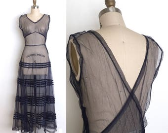 vintage 1930s gown | 30s sheer mesh gown
