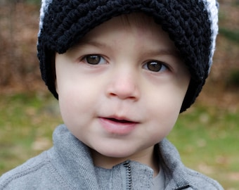 Baby Boy Hat, Toddler Boys Hat, Boys Crochet Hat, Crochet Visor Hat, Boys Crochet Visor Beanie, Black, Charcoal and White, MADE TO ORDER