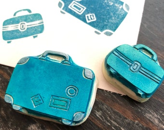 Luggage Rubber Stamp Set Hand Carved