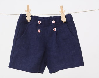 Baby boy shorts Toddler boys pants Linen shorts Nautical party shorts Boys trousers Summer pants Boys clothes Diaper cover