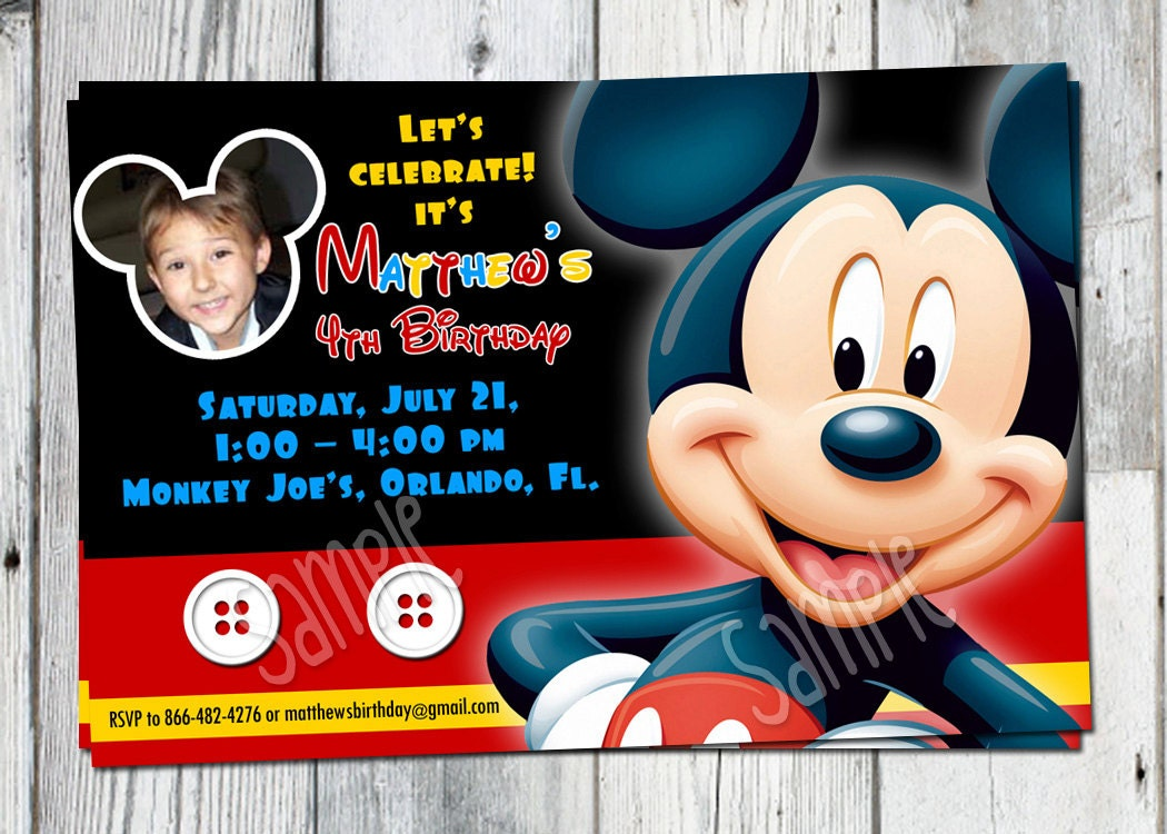 photo mickey mouse birthday invitations - Ideal.vistalist.co