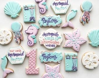 1 dozen Mermaid Birthday Cookies