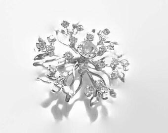 Vintage Rhinestone Brooch 1950s Lacy Flower Bridal Jewelry Wedding