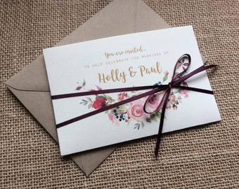 Rustic 'Rose Romance' Folded Bundle invitation with RSVP card and ribbon SAMPLE