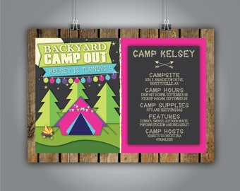 Girl Camp Out Birthday Invitation 5x7 , Girl Birthday Party, Camping Invite, Backyard camp out