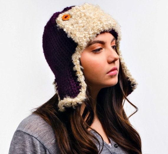 Purple Womens Hat Purple Ear Flap Hat Trapper Hat Aviator
